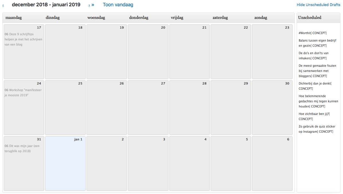editorial calender wordpress printscreen
